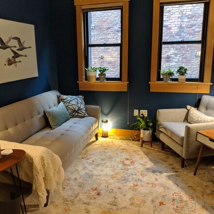 Photo of my Ballard Counseling office. Therapy for trauma, anxiety, depression, disordered eating & trauma. Couples counseling & marriage therapy available. Seattle, WA 98107